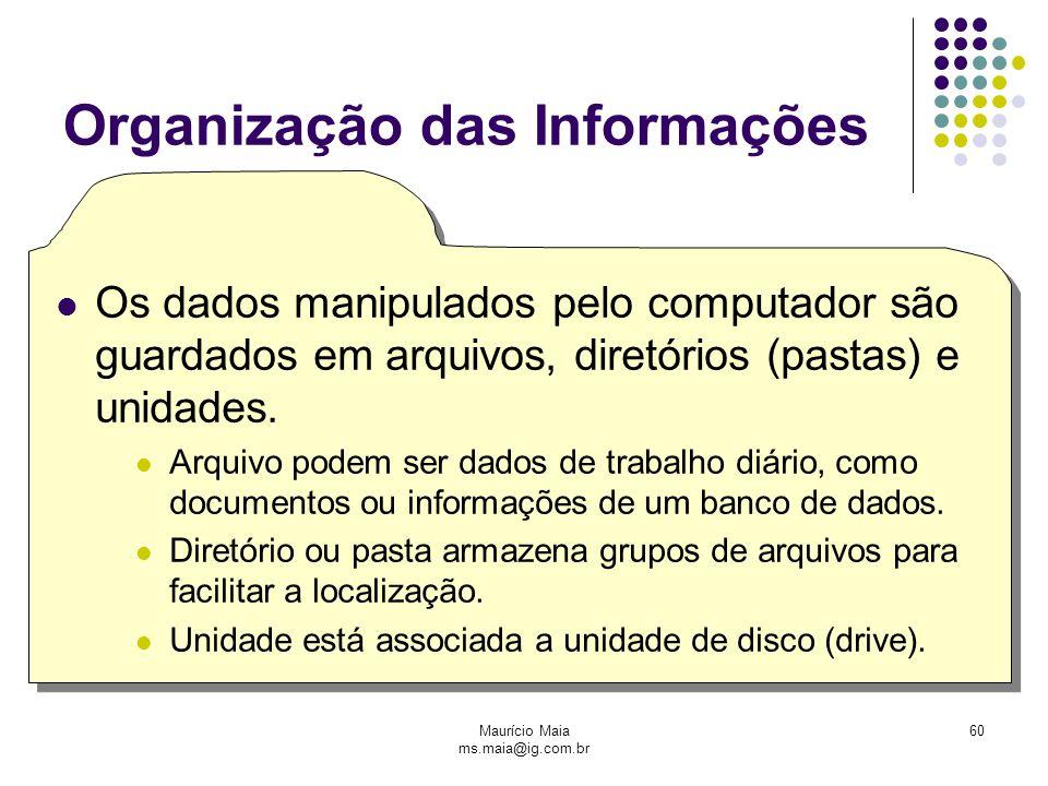 Maurício Maia ms.maia@ig.com.br 60 Organização das Informações Os dados manipulados pelo computador são guardados em arquivos, diretórios (pastas) e unidades.
