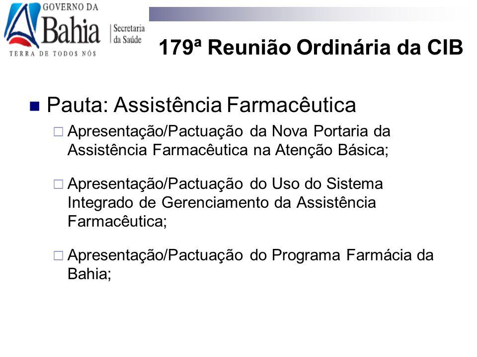179ª Reunião Ordinária da CIB Pauta: Assistência Farmacêutica  Apresentação/Pactuação da Nova Portaria da Assistência Farmacêutica na Atenção Básica;