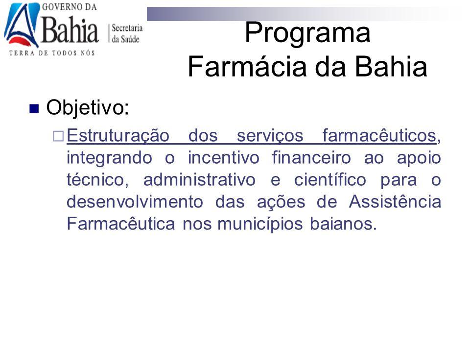 Objetivo:  Estruturação dos serviços farmacêuticos, integrando o incentivo financeiro ao apoio técnico, administrativo e científico para o desenvolvi