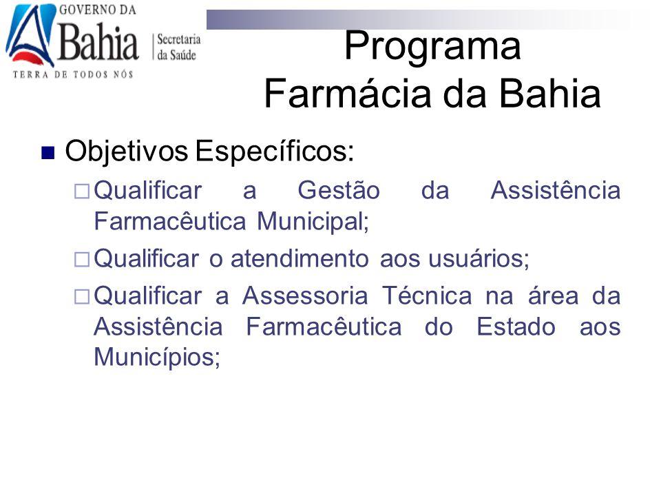 Programa Farmácia da Bahia Objetivos Específicos:  Qualificar a Gestão da Assistência Farmacêutica Municipal;  Qualificar o atendimento aos usuários