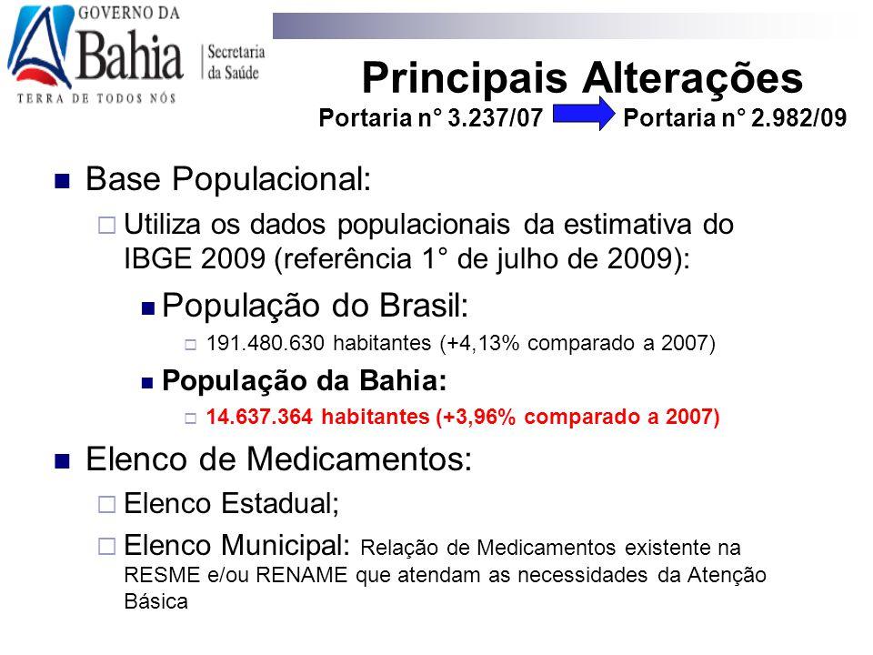 Base Populacional:  Utiliza os dados populacionais da estimativa do IBGE 2009 (referência 1° de julho de 2009): População do Brasil:  191.480.630 ha