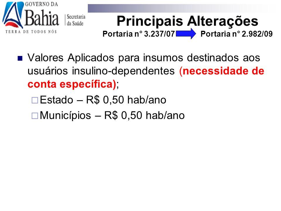 Valores Aplicados para insumos destinados aos usuários insulino-dependentes (necessidade de conta específica);  Estado – R$ 0,50 hab/ano  Municípios