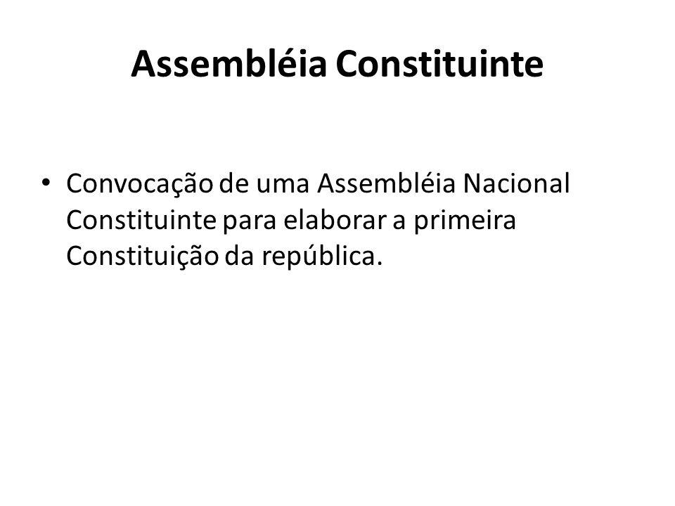 Assembléia Constituinte Convocação de uma Assembléia Nacional Constituinte para elaborar a primeira Constituição da república.