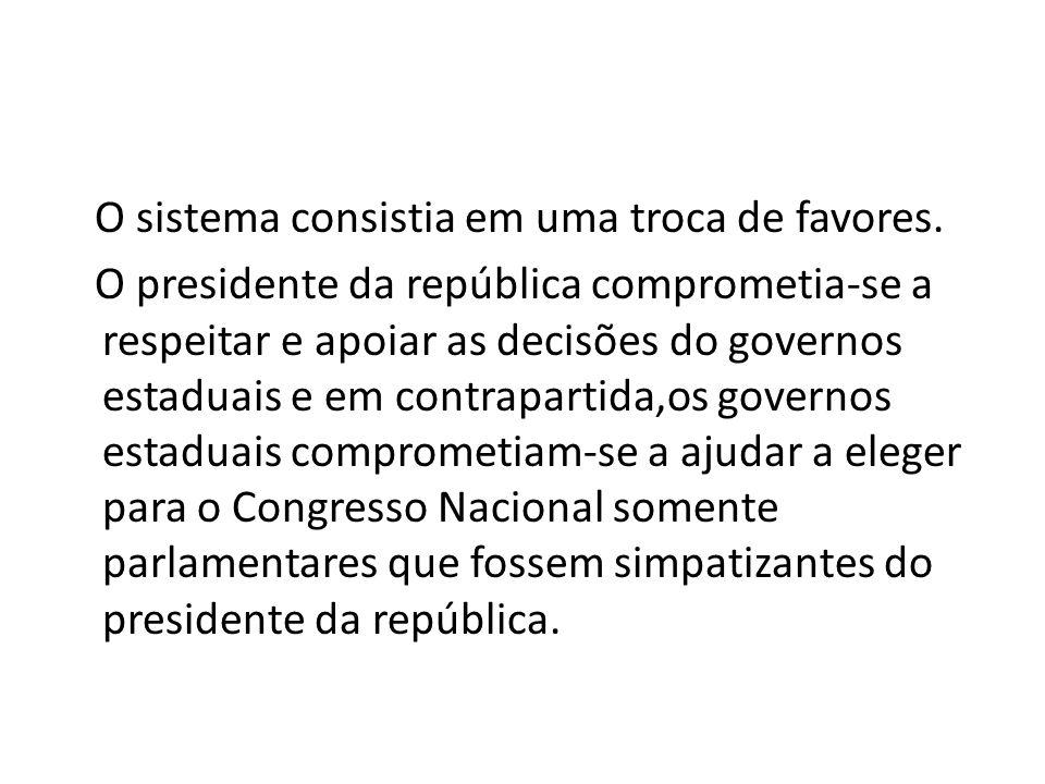 O sistema consistia em uma troca de favores. O presidente da república comprometia-se a respeitar e apoiar as decisões do governos estaduais e em cont