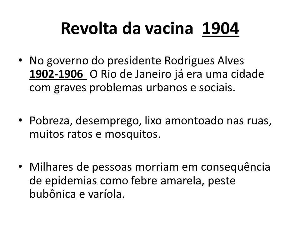 Revolta da vacina 1904 No governo do presidente Rodrigues Alves 1902-1906 O Rio de Janeiro já era uma cidade com graves problemas urbanos e sociais. P