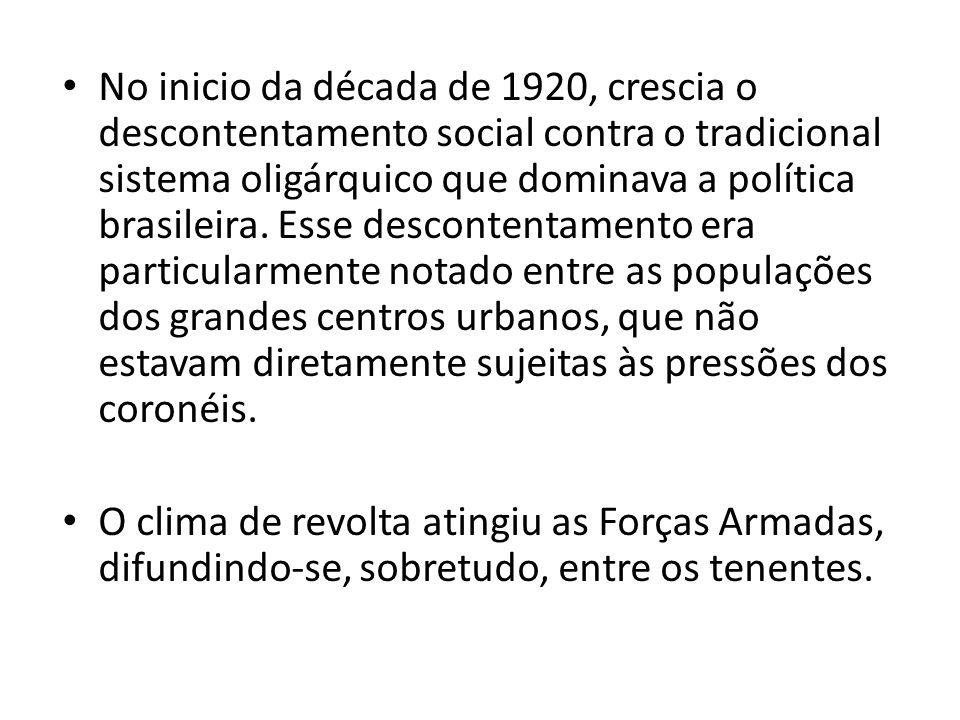 No inicio da década de 1920, crescia o descontentamento social contra o tradicional sistema oligárquico que dominava a política brasileira. Esse desco