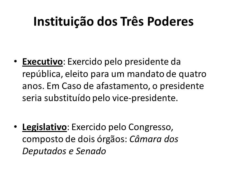 Instituição dos Três Poderes Executivo: Exercido pelo presidente da república, eleito para um mandato de quatro anos. Em Caso de afastamento, o presid