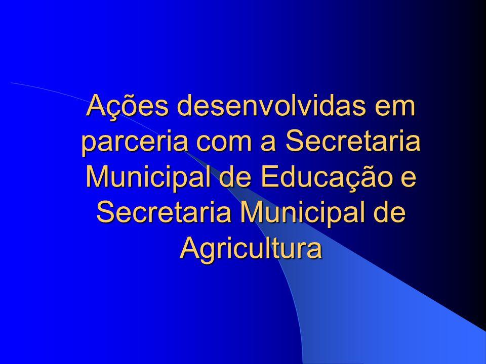 Ações desenvolvidas em parceria com a Secretaria Municipal de Educação e Secretaria Municipal de Agricultura