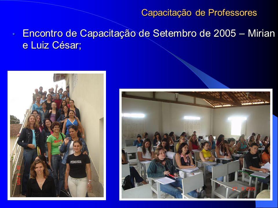 Capacitação de Professores Encontro de Capacitação de Setembro de 2005 – Mirian e Luiz César; Encontro de Capacitação de Setembro de 2005 – Mirian e Luiz César;