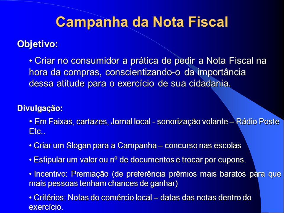 Campanha da Nota Fiscal Objetivo: Criar no consumidor a prática de pedir a Nota Fiscal na hora da compras, conscientizando-o da importância dessa atitude para o exercício de sua cidadania.