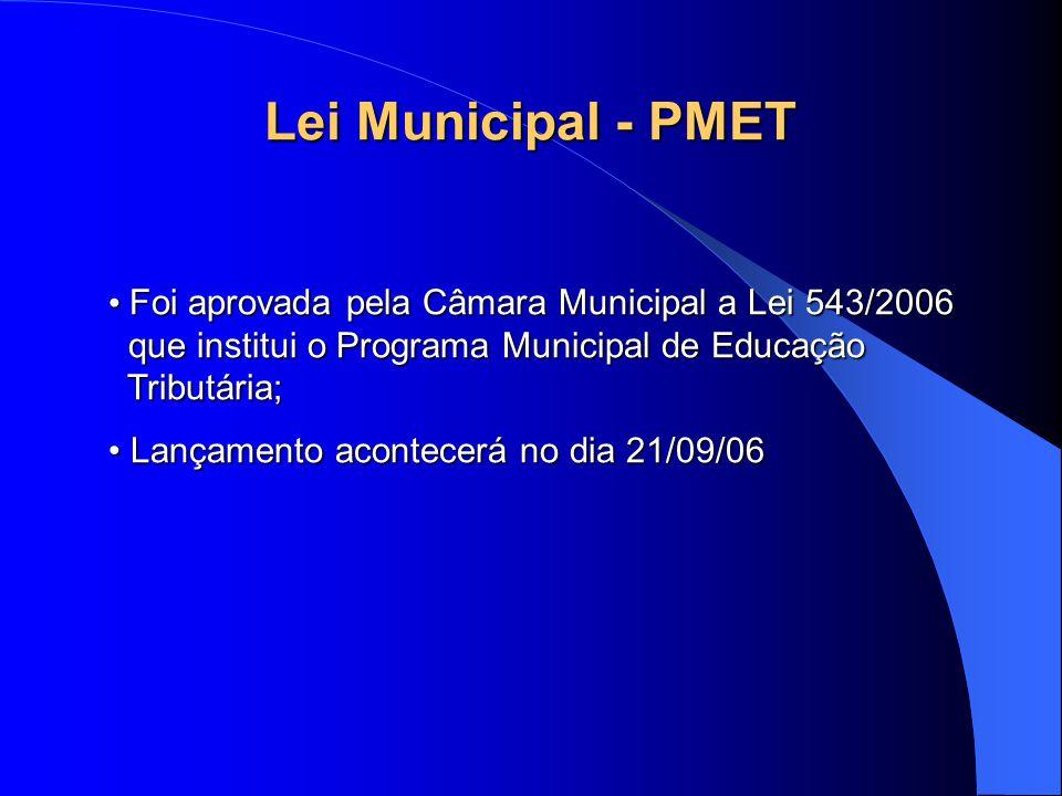 Lei Municipal - PMET Foi aprovada pela Câmara Municipal a Lei 543/2006 que institui o Programa Municipal de Educação Tributária; Foi aprovada pela Câmara Municipal a Lei 543/2006 que institui o Programa Municipal de Educação Tributária; Lançamento acontecerá no dia 21/09/06 Lançamento acontecerá no dia 21/09/06