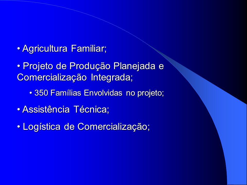 Agricultura Familiar; Agricultura Familiar; Projeto de Produção Planejada e Comercialização Integrada; Projeto de Produção Planejada e Comercialização Integrada; 350 Famílias Envolvidas no projeto; 350 Famílias Envolvidas no projeto; Assistência Técnica; Assistência Técnica; Logística de Comercialização; Logística de Comercialização;