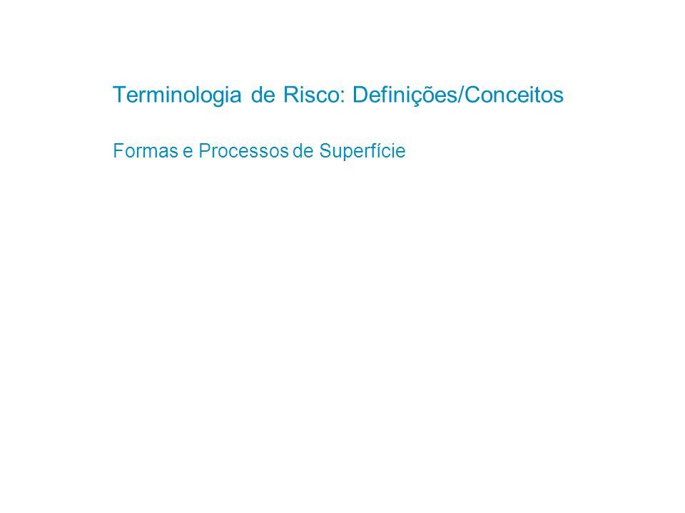 Base: Definições da UNISDR (2009) – United Nations Office for Disaster Risk Reduction (http://www.unisdr.org/) Material com definições complementares Gouldby and Samuels (2004): Language of risk Helm (1996) Klijn (2004)