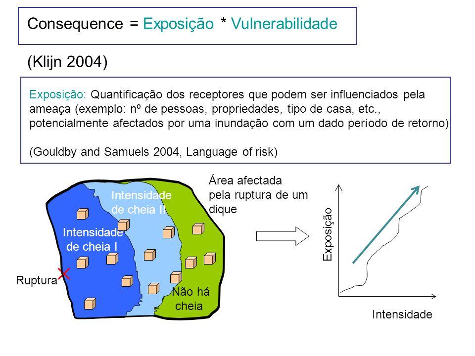 Exposure Exposição: Quantificação dos receptores que podem ser influenciados pela ameaça (exemplo: nº de pessoas, propriedades, tipo de casa, etc., potencialmente afectados por uma inundação com um dado período de retorno) (Gouldby and Samuels 2004, Language of risk) Intensidade de cheia I Intensidade de cheia II Não há cheia Ruptura Intensidade Exposição Área afectada pela ruptura de um dique Consequence = Exposição * Vulnerabilidade (Klijn 2004)
