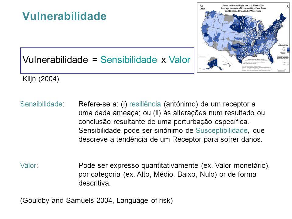 Vulnerabilidade Vulnerabilidade = Sensibilidade x Valor Klijn (2004) Sensibilidade:Refere-se a: (i) resiliência (antónimo) de um receptor a uma dada ameaça; ou (ii) às alterações num resultado ou conclusão resultante de uma perturbação específica.
