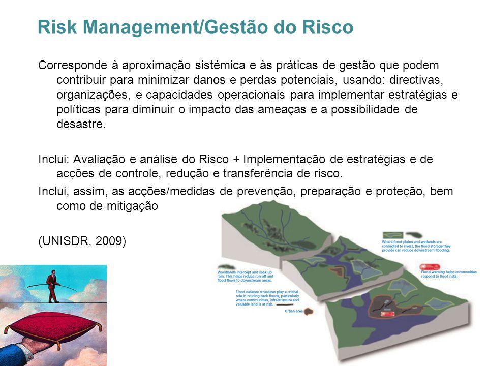 Risk Management/Gestão do Risco Corresponde à aproximação sistémica e às práticas de gestão que podem contribuir para minimizar danos e perdas potenci
