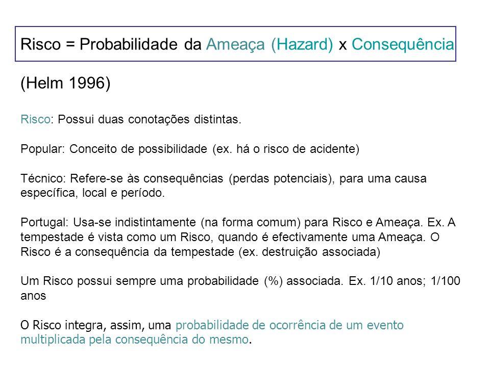 Risco = Probabilidade da Ameaça (Hazard) x Consequência (Helm 1996) Risco: Possui duas conotações distintas. Popular: Conceito de possibilidade (ex. h