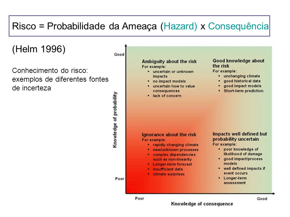 Risco = Probabilidade da Ameaça (Hazard) x Consequência (Helm 1996) Alternativa: Risco = Ameaça x Vulnerabilidade (Vulnerability) Muito utilizada e aparece em muitas aplicações.