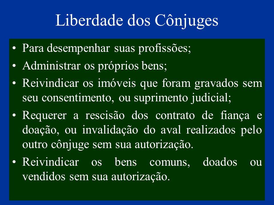 Liberdade dos Cônjuges Para desempenhar suas profissões; Administrar os próprios bens; Reivindicar os imóveis que foram gravados sem seu consentimento