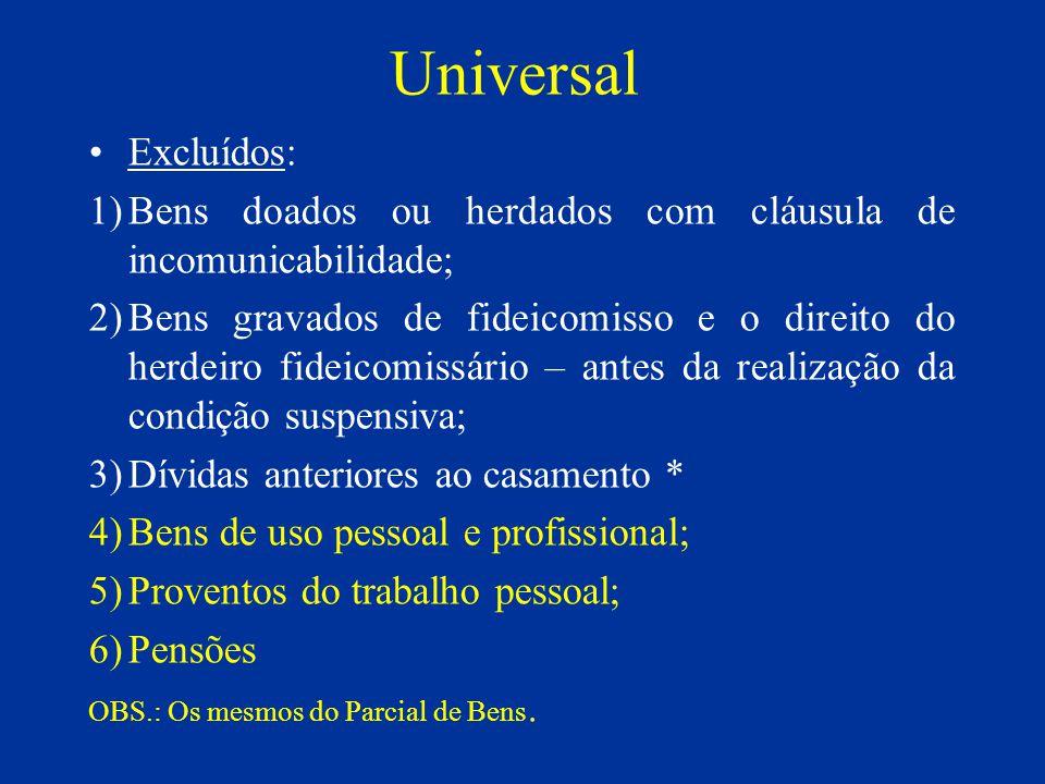 Universal Excluídos: 1)Bens doados ou herdados com cláusula de incomunicabilidade; 2)Bens gravados de fideicomisso e o direito do herdeiro fideicomiss