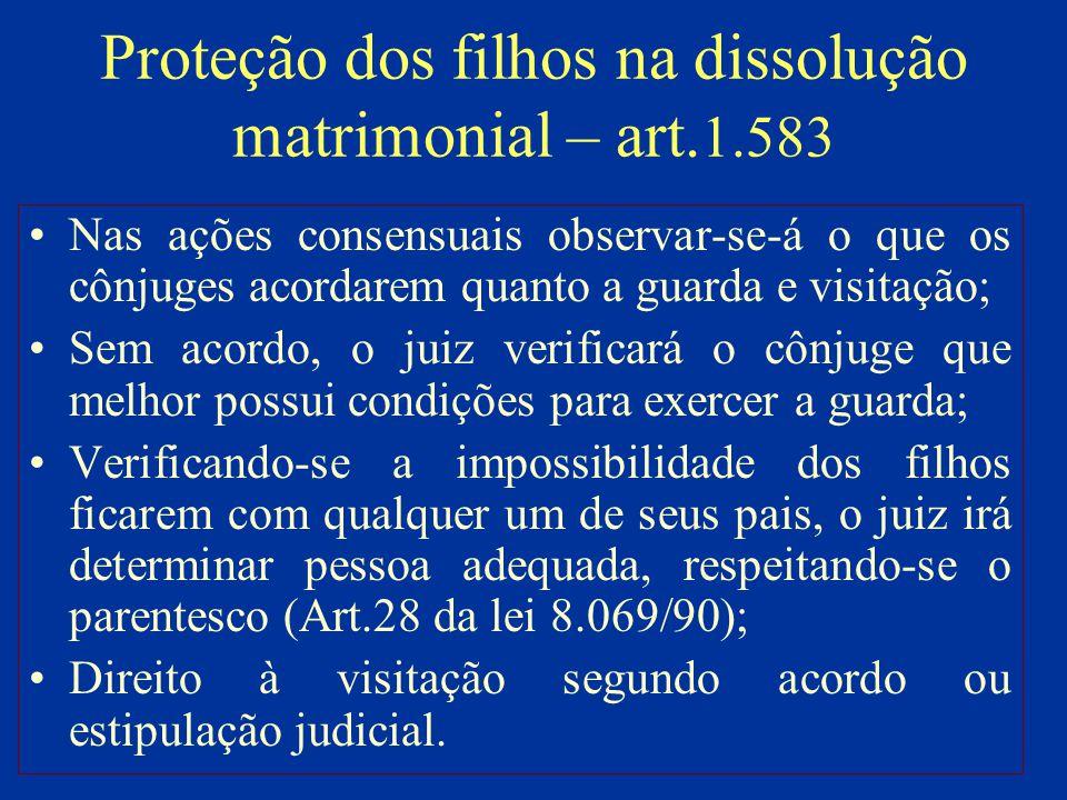 Proteção dos filhos na dissolução matrimonial – art. 1.583 Nas ações consensuais observar-se-á o que os cônjuges acordarem quanto a guarda e visitação