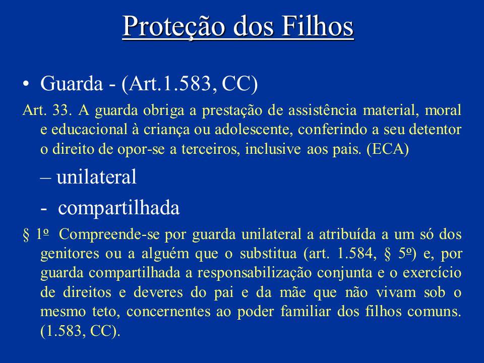 Proteção dos Filhos Guarda - (Art.1.583, CC) Art. 33. A guarda obriga a prestação de assistência material, moral e educacional à criança ou adolescent