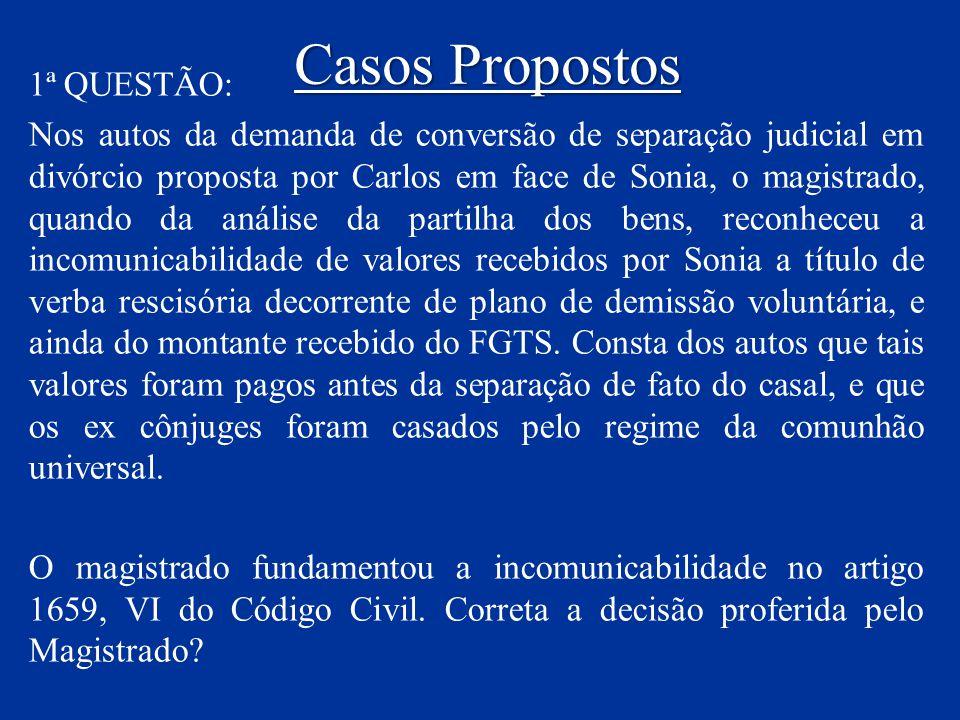 Casos Propostos 1ª QUESTÃO: Nos autos da demanda de conversão de separação judicial em divórcio proposta por Carlos em face de Sonia, o magistrado, qu