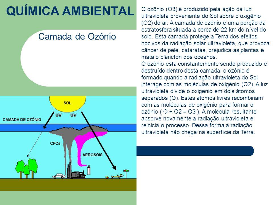 QUÍMICA AMBIENTAL Camada de Ozônio O ozônio (O3) é produzido pela ação da luz ultravioleta proveniente do Sol sobre o oxigênio (O2) do ar.