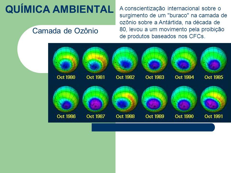 QUÍMICA AMBIENTAL Camada de Ozônio A conscientização internacional sobre o surgimento de um buraco na camada de ozônio sobre a Antártida, na década de 80, levou a um movimento pela proibição de produtos baseados nos CFCs.