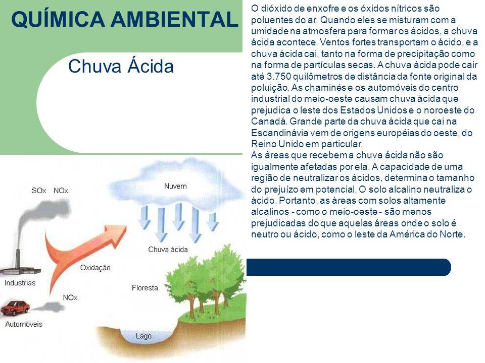 QUÍMICA AMBIENTAL Chuva Ácida O dióxido de enxofre e os óxidos nítricos são poluentes do ar.