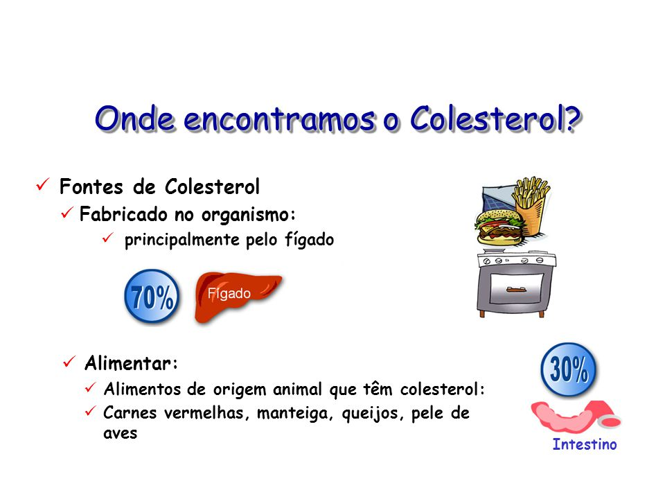 Onde encontramos o Colesterol? Fontes de Colesterol Fabricado no organismo: principalmente pelo fígado Alimentar: Alimentos de origem animal que têm c