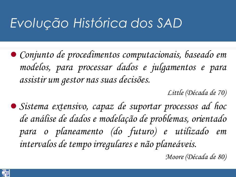 Evolução Histórica dos SAD Conjunto de procedimentos computacionais, baseado em modelos, para processar dados e julgamentos e para assistir um gestor nas suas decisões.