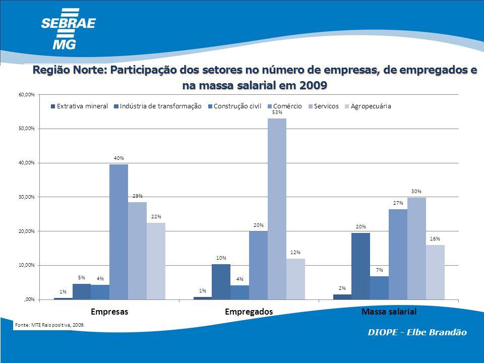 DIOPE - Elbe Brandão Região Norte: Participação dos setores no número de empresas, de empregados e na massa salarial em 2009 Fonte: MTE Rais positiva,