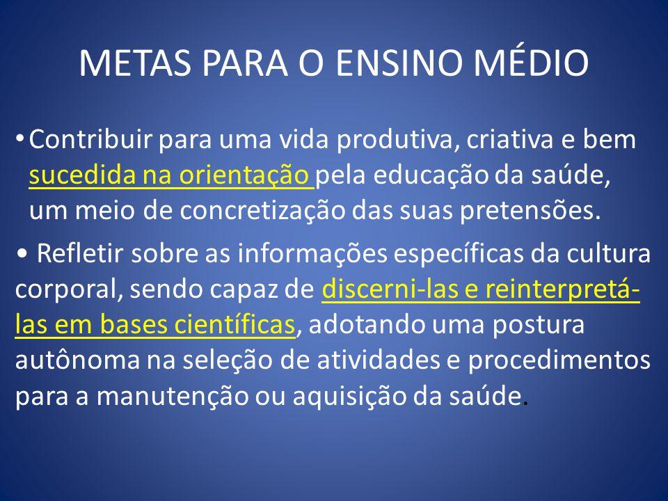 METAS PARA O ENSINO MÉDIO Contribuir para uma vida produtiva, criativa e bem sucedida na orientação pela educação da saúde, um meio de concretização d