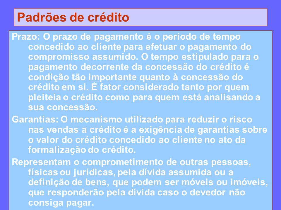 Padrões de crédito Prazo: O prazo de pagamento é o período de tempo concedido ao cliente para efetuar o pagamento do compromisso assumido. O tempo est