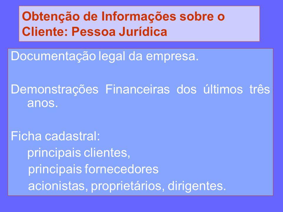 Obtenção de Informações sobre o Cliente: Pessoa Jurídica Documentação legal da empresa. Demonstrações Financeiras dos últimos três anos. Ficha cadastr