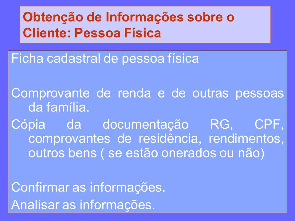 Obtenção de Informações sobre o Cliente: Pessoa Física Ficha cadastral de pessoa física Comprovante de renda e de outras pessoas da família. Cópia da