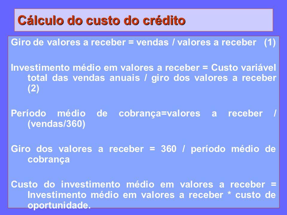 Cálculo do custo do crédito Giro de valores a receber = vendas / valores a receber (1) Investimento médio em valores a receber = Custo variável total