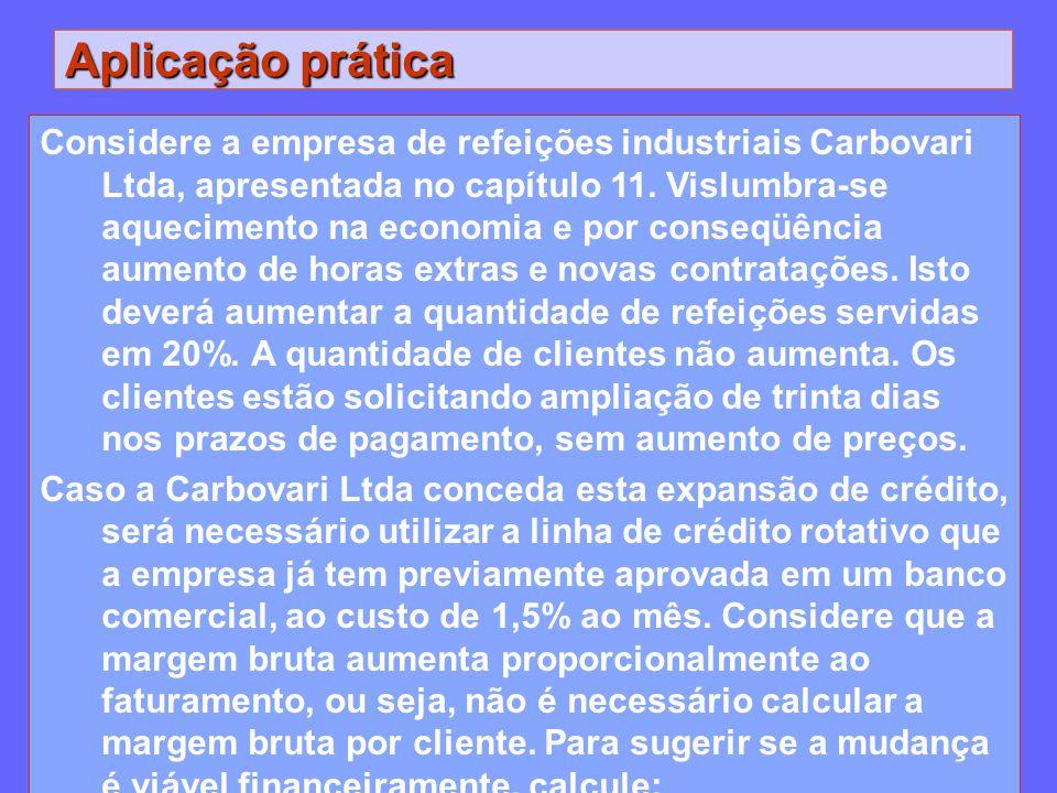Aplicação prática Considere a empresa de refeições industriais Carbovari Ltda, apresentada no capítulo 11. Vislumbra-se aquecimento na economia e por