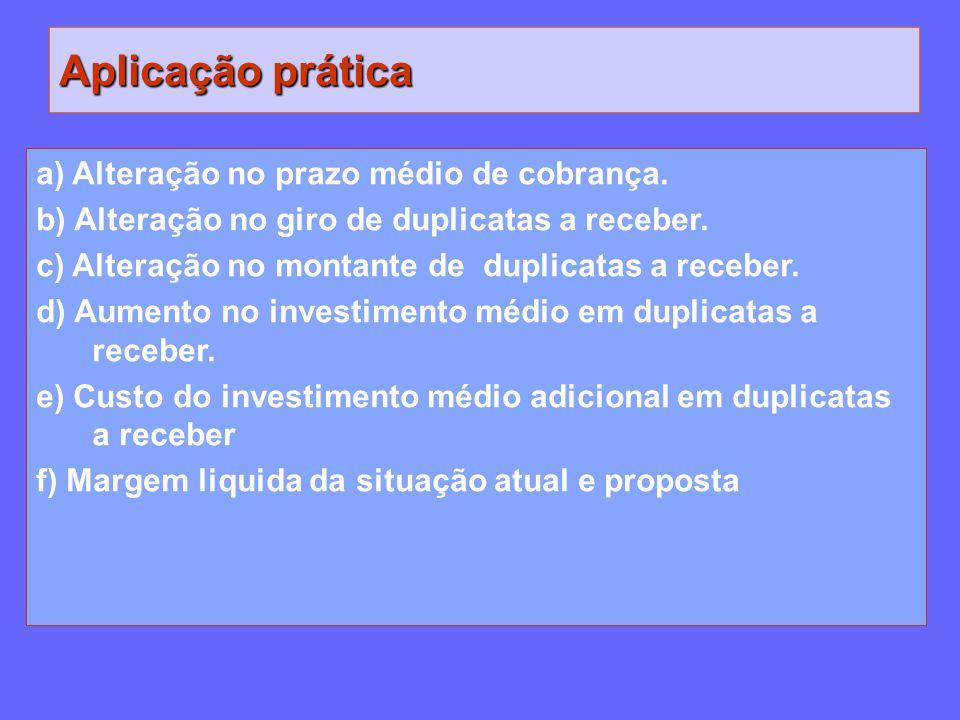 Aplicação prática a) Alteração no prazo médio de cobrança. b) Alteração no giro de duplicatas a receber. c) Alteração no montante de duplicatas a rece