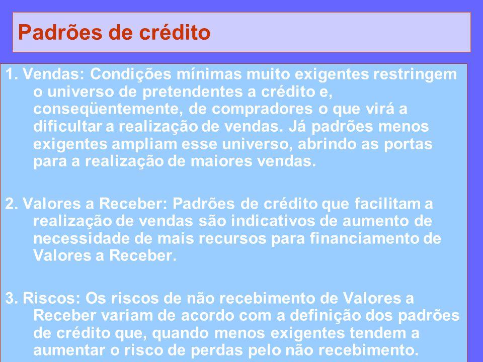 Padrões de crédito 1. Vendas: Condições mínimas muito exigentes restringem o universo de pretendentes a crédito e, conseqüentemente, de compradores o