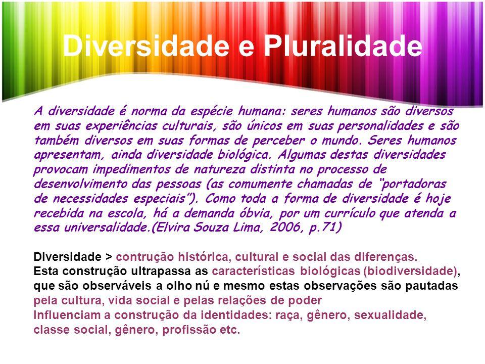 Diversidade e Pluralidade A diversidade é norma da espécie humana: seres humanos são diversos em suas experiências culturais, são únicos em suas perso