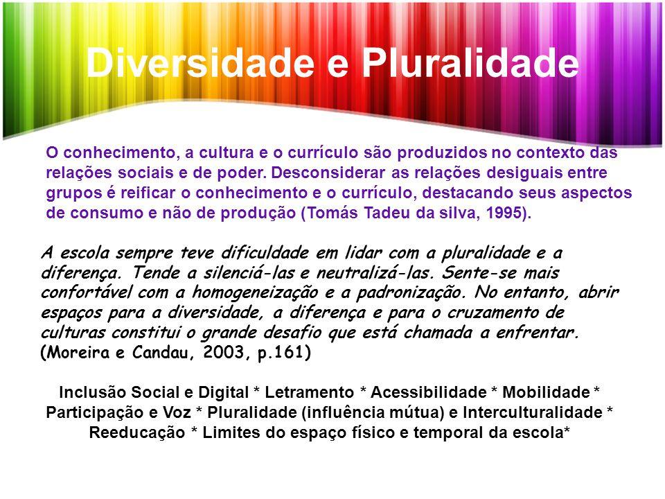 Diversidade e Pluralidade O conhecimento, a cultura e o currículo são produzidos no contexto das relações sociais e de poder. Desconsiderar as relaçõe