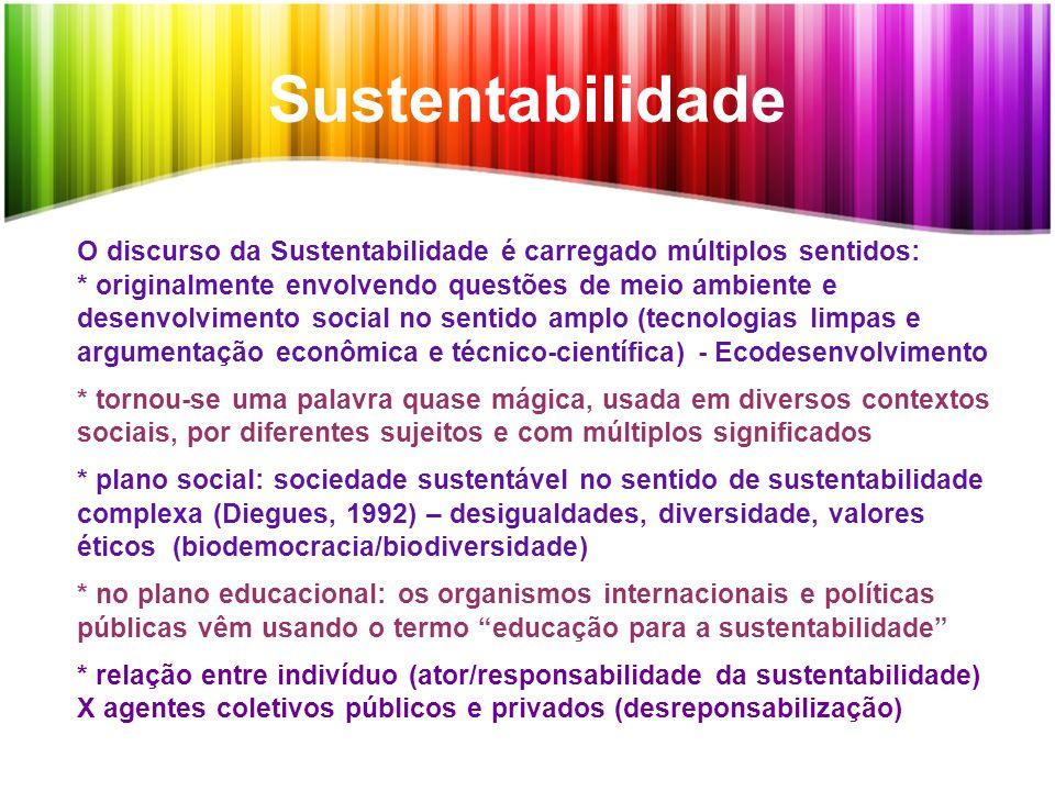 Sustentabilidade O discurso da Sustentabilidade é carregado múltiplos sentidos: * originalmente envolvendo questões de meio ambiente e desenvolvimento