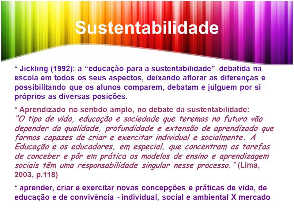 """Sustentabilidade * Jickling (1992): a """"educação para a sustentabilidade"""" debatida na escola em todos os seus aspectos, deixando aflorar as diferenças"""