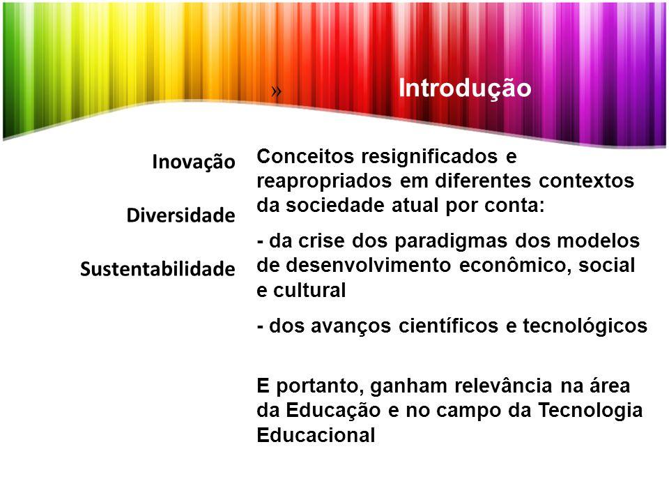 Inovação Diversidade Sustentabilidade Conceitos resignificados e reapropriados em diferentes contextos da sociedade atual por conta: - da crise dos pa