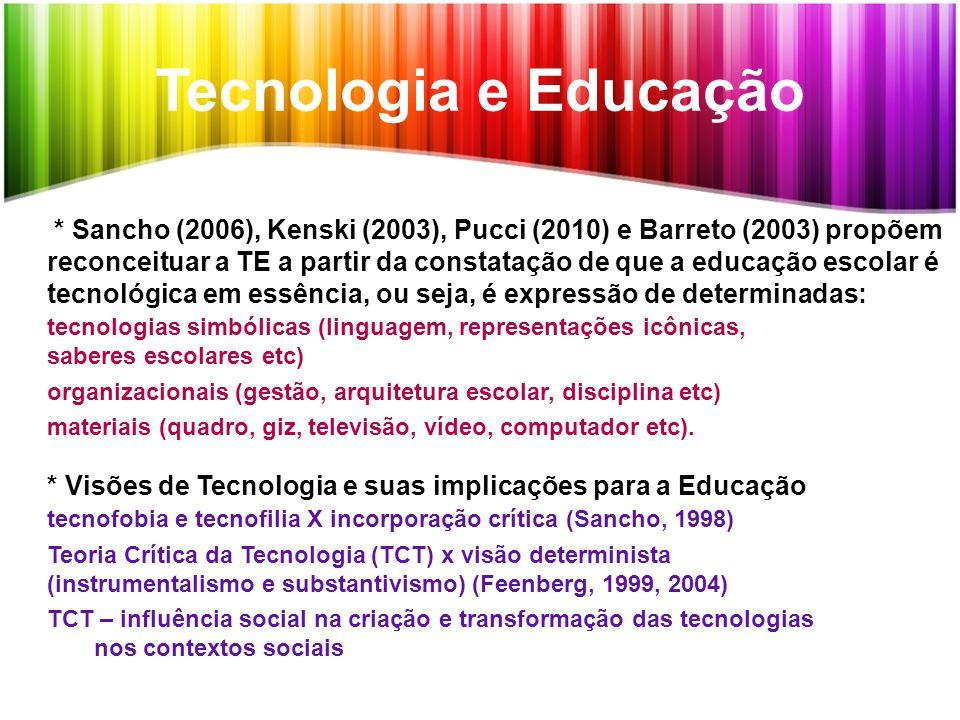 Tecnologia e Educação * Sancho (2006), Kenski (2003), Pucci (2010) e Barreto (2003) propõem reconceituar a TE a partir da constatação de que a educaçã