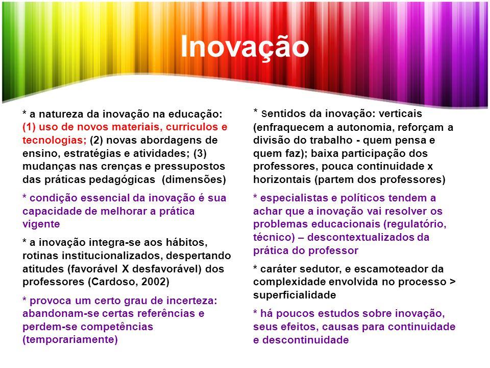 Inovação * a natureza da inovação na educação: (1) uso de novos materiais, curriculos e tecnologias; (2) novas abordagens de ensino, estratégias e ati