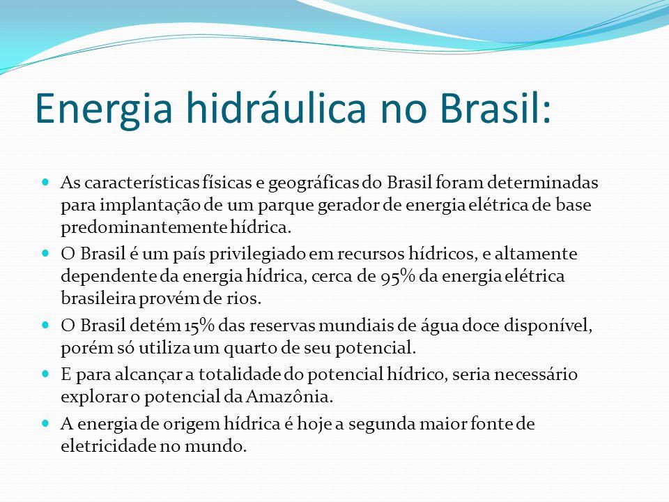 Energia hidráulica no Brasil: As características físicas e geográficas do Brasil foram determinadas para implantação de um parque gerador de energia elétrica de base predominantemente hídrica.