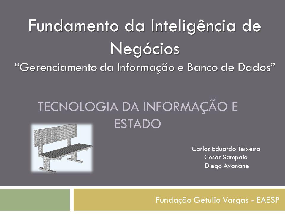 """TECNOLOGIA DA INFORMAÇÃO E ESTADO Fundação Getulio Vargas - EAESP Fundamento da Inteligência de Negócios """"Gerenciamento da Informação e Banco de Dados"""